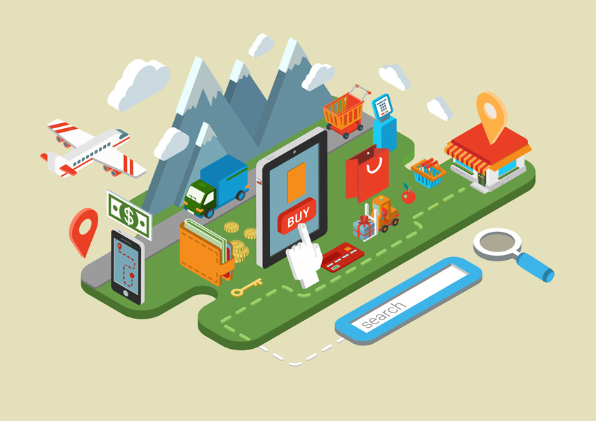 Flat online web site shopping internet process infographics 3d isometric concept. E-commerce store on tablet, payment terminal. Search item, buy, checkout, payment, delivery, shipping icons collage.